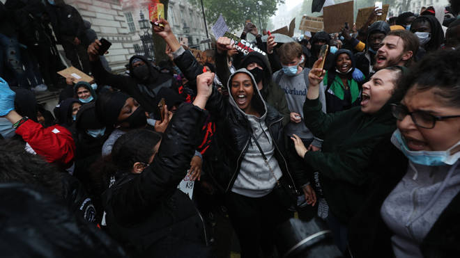 Black Lives Matter protesters in London yesterday