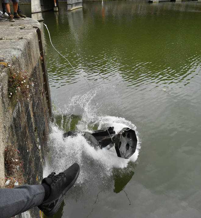 The moment it hit the water