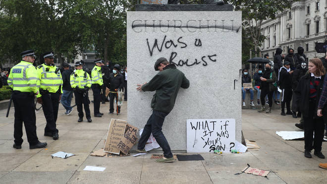 The statue of Winston Churchill was defaced in Parliament Square