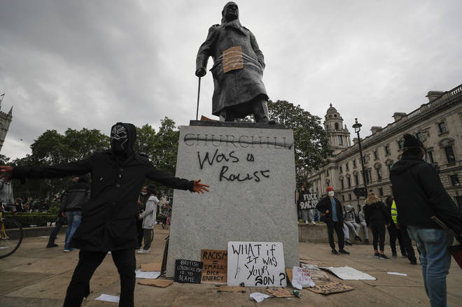 The Churchill Monument in London was vandalised following protests on Sunday