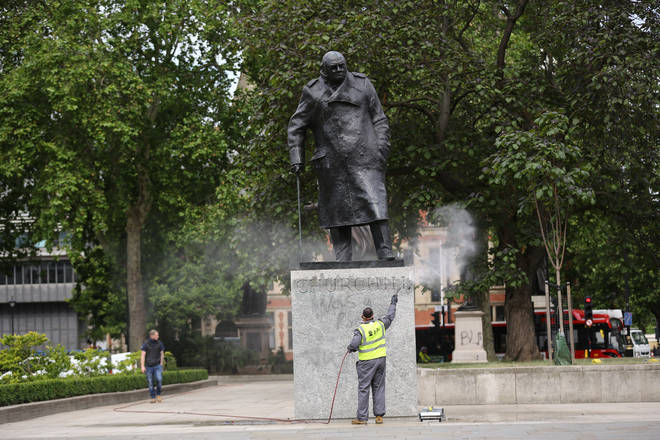 A statue of Winston Churchill was graffitied on Sunday