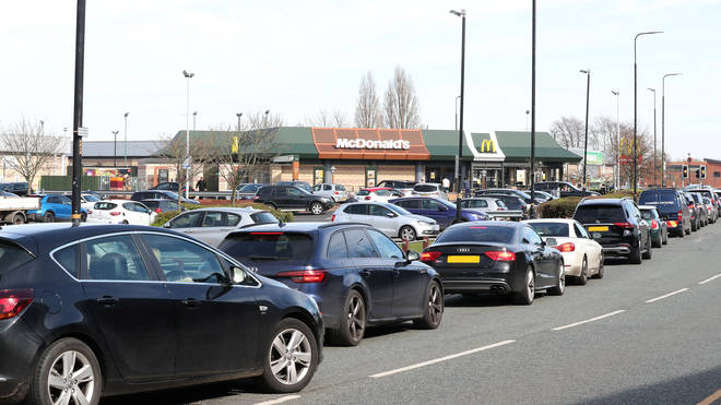 Drive-thrus around the country have opened causing huge traffic queues