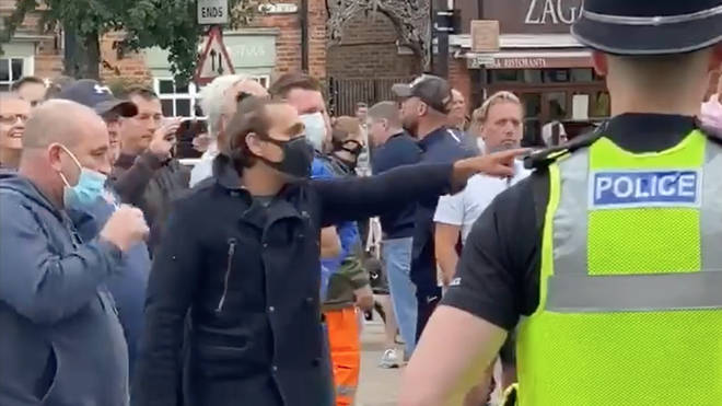 Footage has been posted online of people shouting at protestors