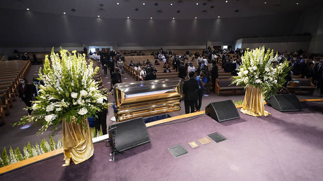The casket of George Floyd lies in wait for his funeral service