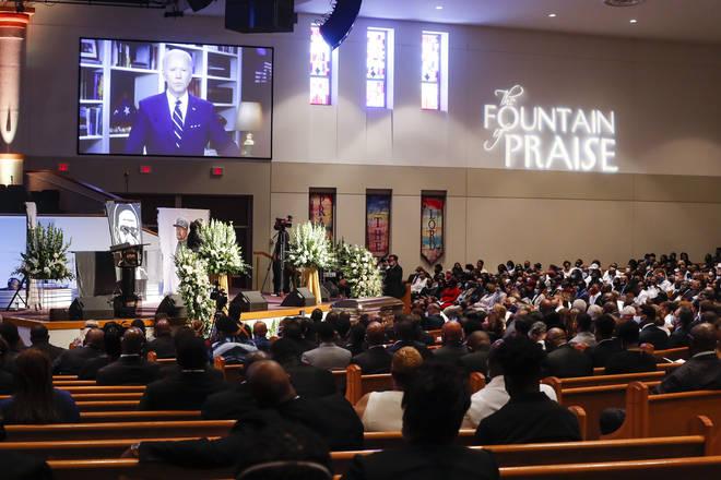 Joe Biden's speech seen from the church