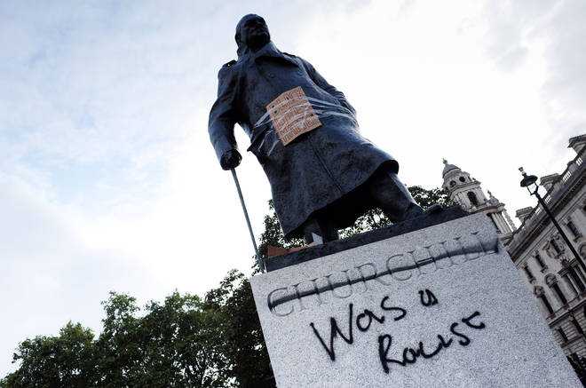The statue of Churchill was spray painted by protesters
