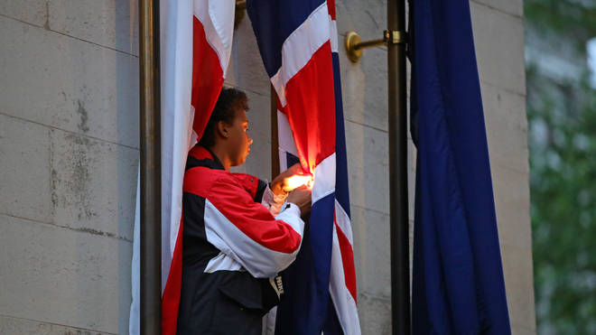 One protester attempted to set file to a flag on the Cenotaph