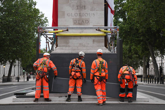 Authorities have put up a hoarding around the Cenotaph