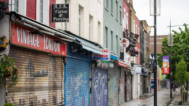 Shops and businesses were forced to close