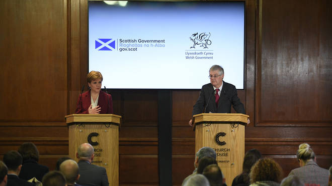"File photo: Nicola Sturgeon and Mark Drakeford said it would be ""extraordinarily reckless"" to leave the transition period at the end of this year"