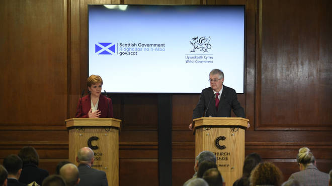 Nicola Sturgeon (left) and Mark Drakeford (right) have written a joint letter to the prime minister encouraging an extension to the transition period