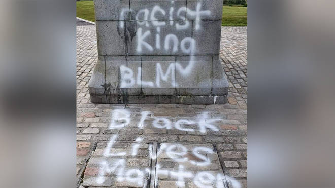 The statue was daubed with BLM graffiti