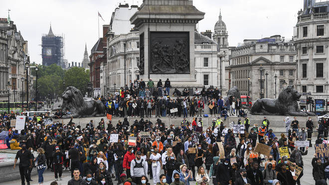 Hundreds once again gathered in central London again today