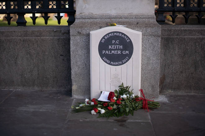 A man appeared to urinate on the memorial to Pc Palmer