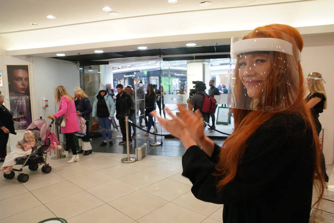 Staff at Fenwicks in Newcastle were given visors to wear