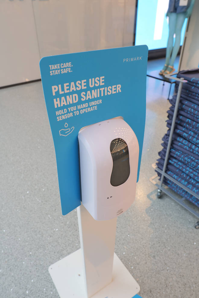 Primark stores were issued with hand sanitiser