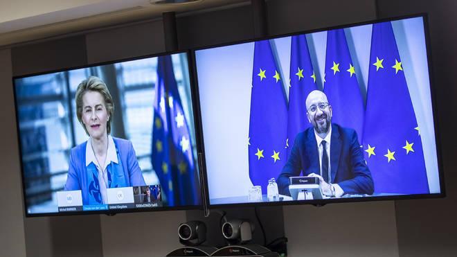 European Council President Charles Michel, on screen right, speaks via videoconference to European Commission President Ursula von der Leyen