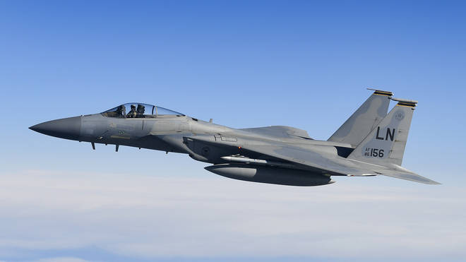 The US Air Force F-15C Eagle crashed at 9.40am on Monday