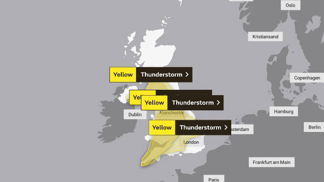 Yellow weather warnings are in place across the UK until Thursday