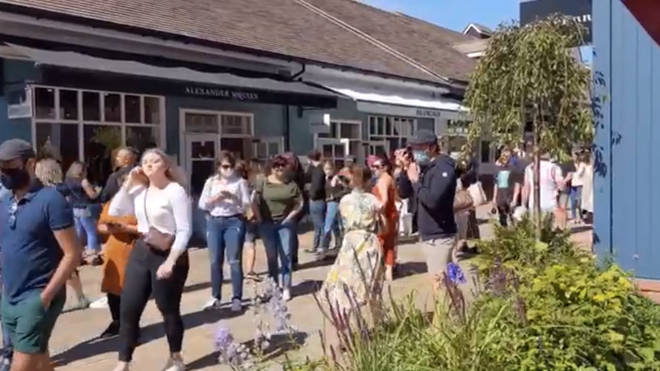 Hundreds of shoppers visited Bicester Village upon reopening