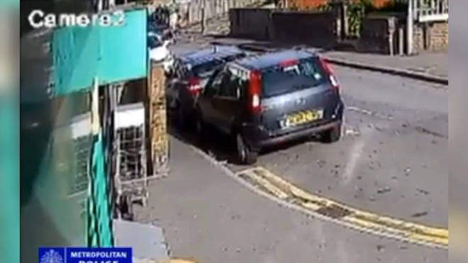 Police are hunting the driver of this BMW