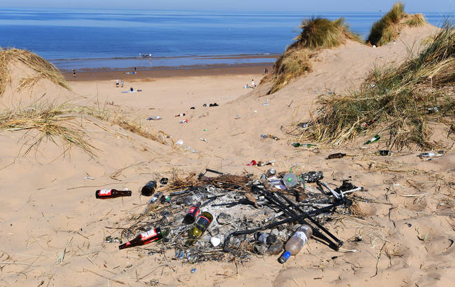 Litter left on the Formby Beach sand dunes in Merseyside