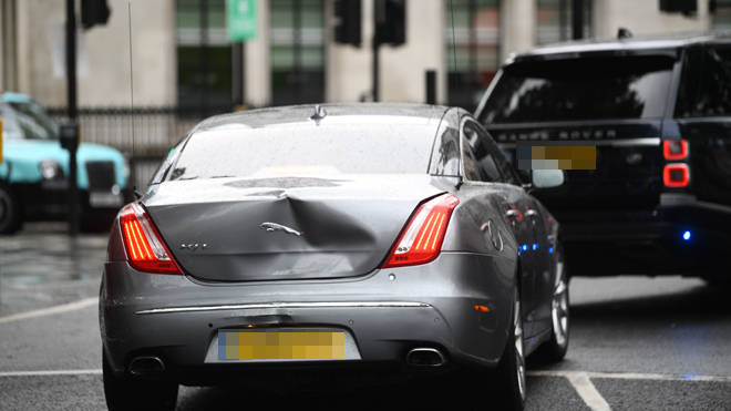 The PM's vehicle was involved in a minor shunt outside parliament