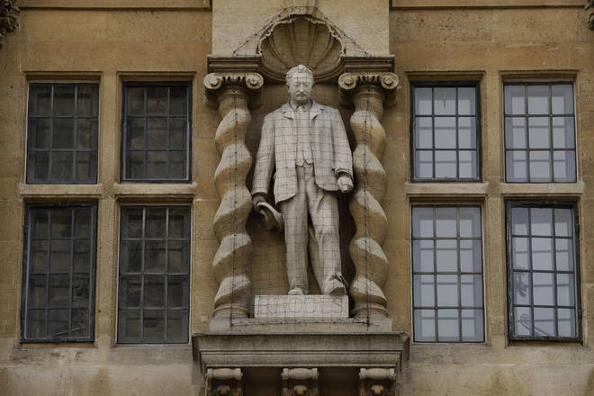 The statue of Cecil Rhodes outside Oriel College