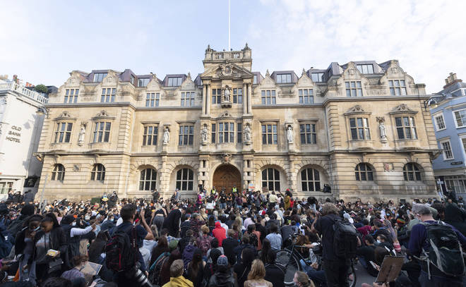 There have been protests outside the college