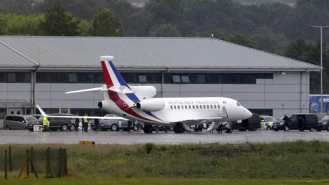 French president Emmanuel Macron lands at RAF Northolt