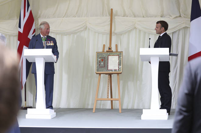 Prince Charles and Emmanuel Macron spoke at a ceremony awarding London the Legion D'Honneur