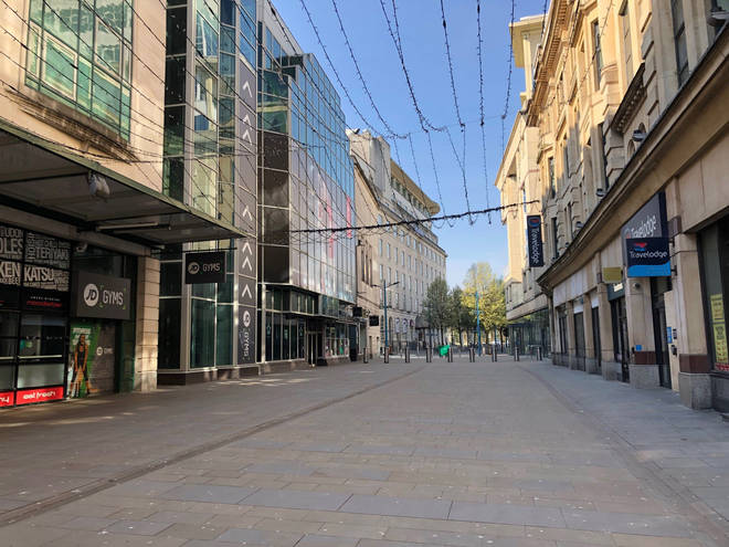 Closed shops in Cardiff the day after Prime Minister Boris Johnson put the UK in lockdown
