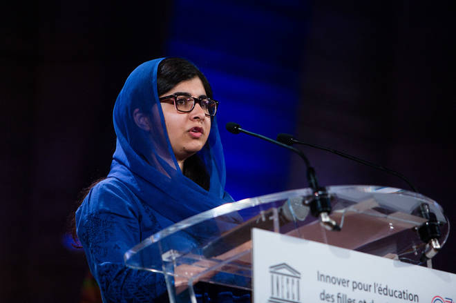 Malala Yousafzai delivers a speech at the Education and development G7 ministers Summit