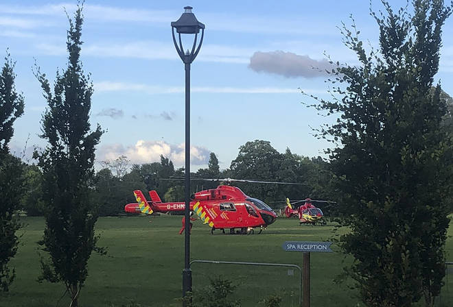 The air ambulance is seen in attendance in Forbury Gardens after multiple people were stabbed