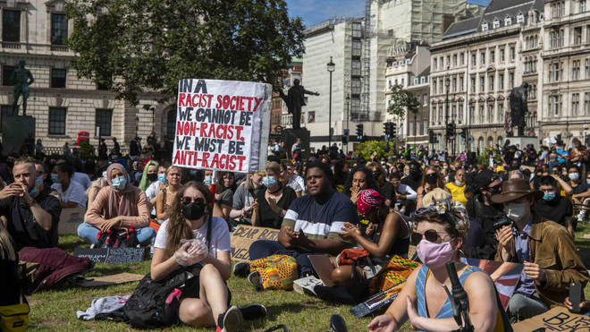 Pictures of BLM protesters on June 21 gathering at Parliament Square