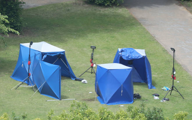 Police tents in Forbury Gardens in Reading town centre at the scene of a multiple stabbing attack