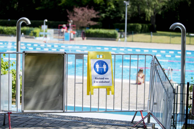 An outside swimming pool re-opened in Germany