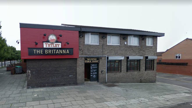 Drinkers had barricaded themselves inside The Britannia Hotel pub in Vauxhall, Liverpool
