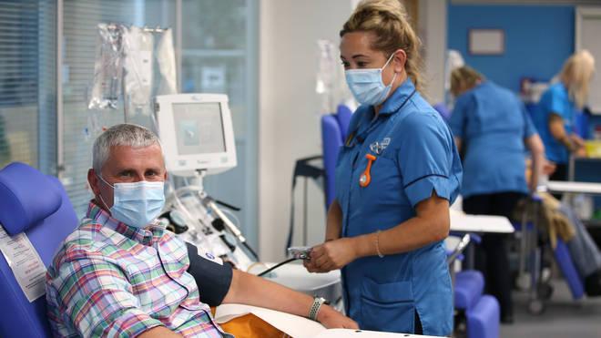 Simon Callan pictured having his plasma taken