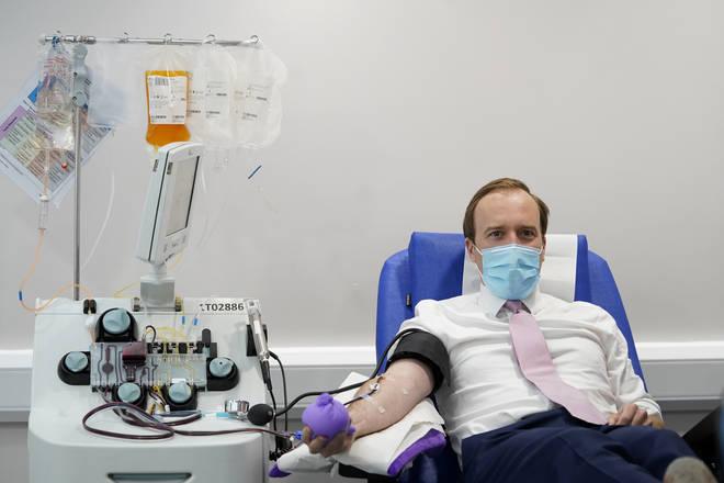Health Secretary Matt Hancock pictured donating antibodies