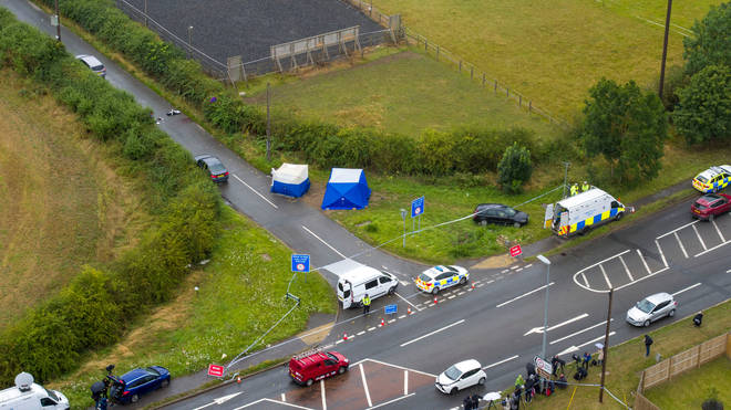 An aerial view of the scene at Ufton Lane, near Sulhamstead, Berkshire, where Pc Andrew Harper was killed