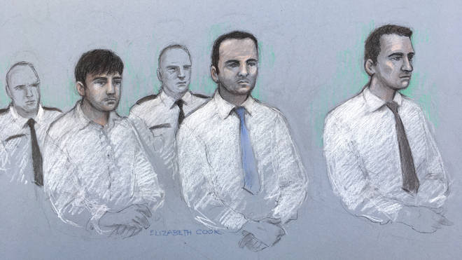 Court artist sketch by Elizabeth Cook of (left to right) Henry Long, 19, Albert Bowers, 18, and Jessie Cole, 18, as they sit in the dock at the Old Bailey