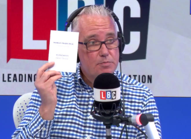 Eddie Mair holds up the Brexit booklet