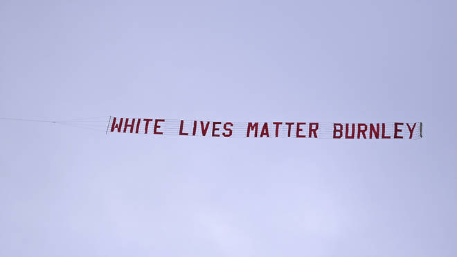 The White Lives Matter banner was flown over Manchester City's Etihad Stadium on Monday