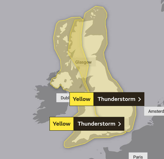 Yellow weather warnings will blanket the country