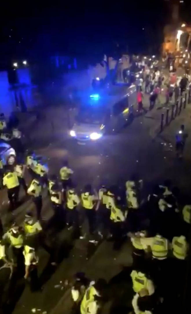 Police swamped the area on Wednesday night