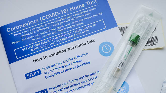 A home testing kit for Coronavirus (COVID-19) pictured at an address in London