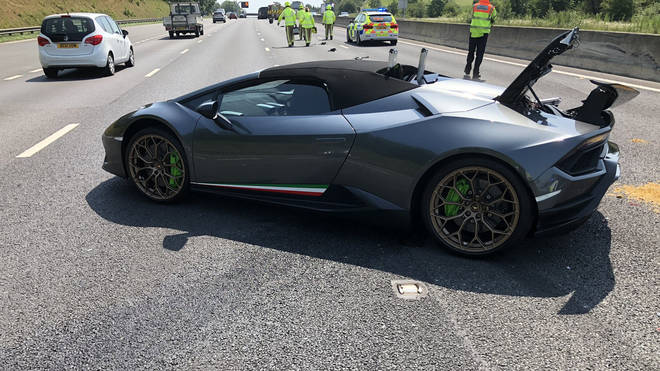 The dark grey supercar is estimated to have cost just over £200,000