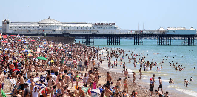 Brighton beach appeared packed on the hottest day of the year so far