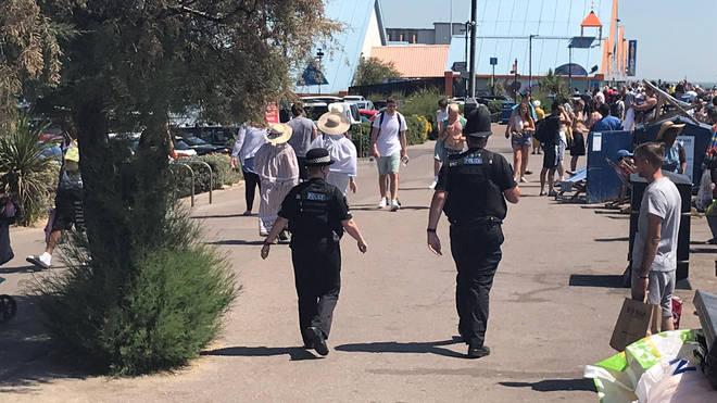 Police patrolling Southend beach